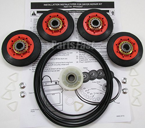 3389902 - Dryer Repair Kit (4 Rollers, Belt, Idler Wheel, Clips, Washers) For All Major Brand Dryers