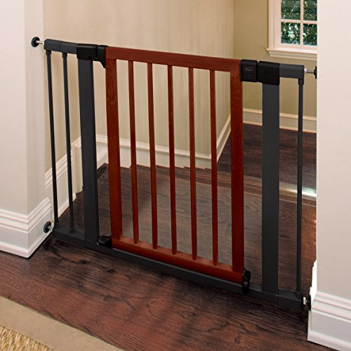 Munchkin Wood And Steel Designer Baby Gate Dark Wood
