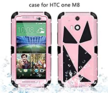 buy New Waterproof For Htc One M8 Case, Aluminum Metal Protective Armor Cases 2014 (Pink)