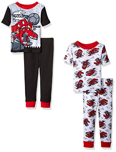 DinoTrux Boys' Toddler Boys' Boom 4pc Pajama Set, Assorted, 3T