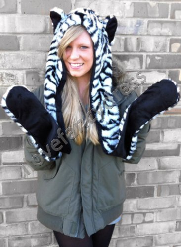 ZEBRA ANIMAL HOOD SCARF AND MITTEN ALL IN ONE