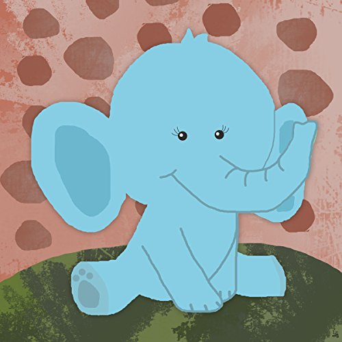 Green Leaf Art Blue Baby Elephant Canvas Art