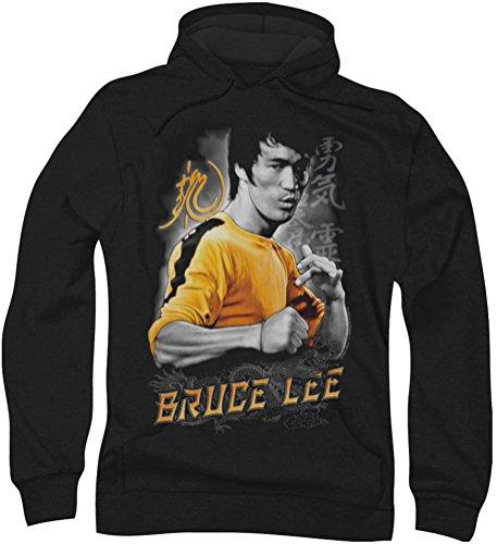 Bruce Lee Dragon-Felpa con cappuccio, da uomo, colore: giallo nero Medium