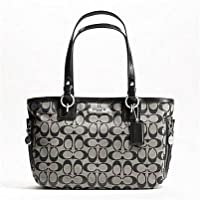 Coach 19249 Black White Gallery Signature Zipper Tote Nwt