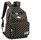HOT Sale New Arrival Polka Dot Canvas Rucksack Casual Daypack Backpack Laptop Backpack College Bookbag Book Tote Bag for Teens Students School Bags for Girl and Boy Love (Black)
