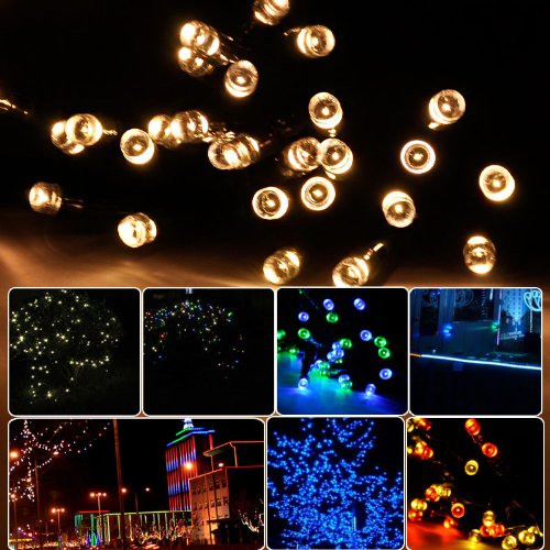 Lycheers 32.8ft (10 m) 100 LED Operated Outdoor and Indoor Battery String Lights With Auto Timer Feature and 8 Functions (Warm White)