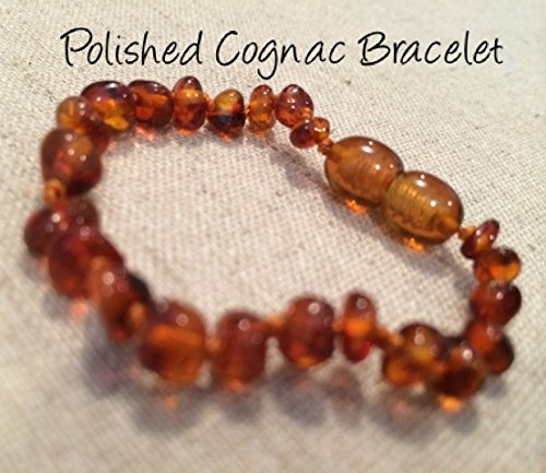Baltic Amber Teething Bracelet For Babies And Toddlers Polished Cognac front-854227