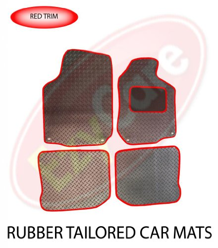 SEAT LEON (09-13) (4 X CLIP) TAILORED RUBBER CAR MATS RED TRIM