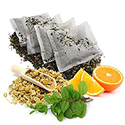 Stress Relief Bath Tea Soak ~ 100% Botanical Blend of Orange, Chamomile, Ginger, and Peppermint ~ All Natural Bath Tea Bag to Relax Your Mind & Body ~ Get 4 individually wrapped bath tea\'s