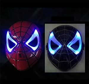 LED Glowing Light Black And Red the mask fancy dress costume the amazing spider man mask. from Bovee's Toy