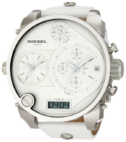 Diesel SBA Big White Dial White Leather Strap Mens Watch DZ7194