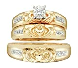 0.1 cttw 14k Yellow Gold Diamond Claddagh Bridal Set His and Hers Trio Wedding Ring Set (Sizes 4-13)