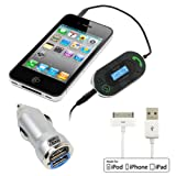EZOPower EZMFI11 USB Sync & Charge Dock Connector Cable + iKross 3.5mm LED FM Talk / Transmitter with Auto-Scan Car Kit + Metalic Silver 2-Port USB Car Charger Adapter 2A for Apple iPhone 4 4S 4G 4GS, iPhone 3G 3GS, iPad 1 ,2, iPad 3 (The New iPad)