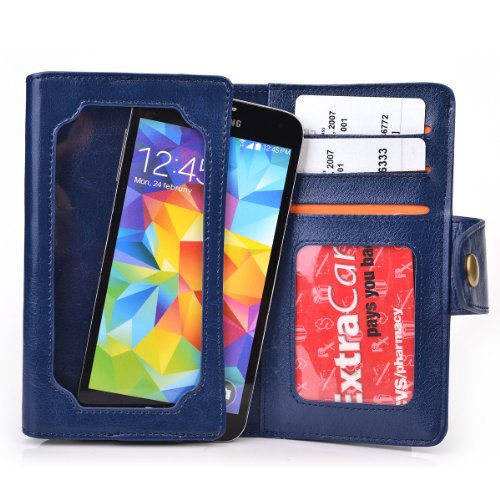 Navy Blue Leather Phone Case With Credit Card Slots Fits Motorola Atrix Tv Xt682 front-578604