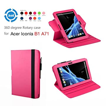 Exact 360 degree Rotary Leather case for Acer Iconia B1-A71 7-Inch Android Tablet Hot Pink promo code 2015