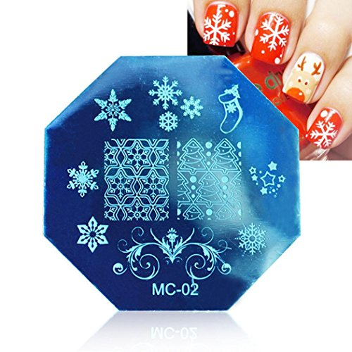 FEITONG Natale fai da te Timbro immagine Piastre Stamping manicure Nail Art Piastra