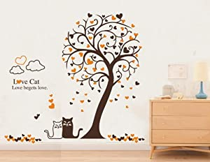 Large Removable Wall Decor Decal Stickers Love Cat and Love begets Love Tree (Sheet size: 24-Inch x 36-Inch)