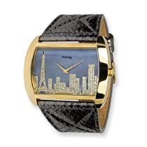 Moog Fashionista Skyline IP Gold Case/Black Leather Strap Watch