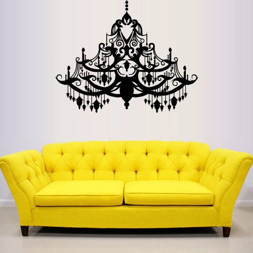 Wall Decal Vinyl Sticker Decals Art Decor Design Chandelier Luster Chanel Light Lantern Lamp Living Room Bedroom Mural Fashion Gift (M1327) front-705136