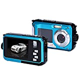 Coolbiz-Double-Screen-Waterproof-Camera-24MP-16x-Digital-Zoom-Dive-Camera-with-Image-Stablization-for-Diving-PhotographyBlue