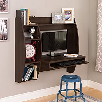 Prepac Floating Desk with Storage and Keyboard Tray, Espresso