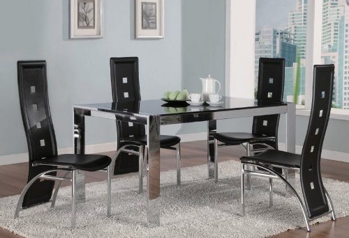 Cheap 5pc Dining Table & Chairs Set Glass Top Metal Silver Finish (VF_Dinset-120280-120282)