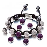 Shimla Jewellery Shimla Interchangeable White and Amethyst Czech Crystal Beads Bracelet SH 112