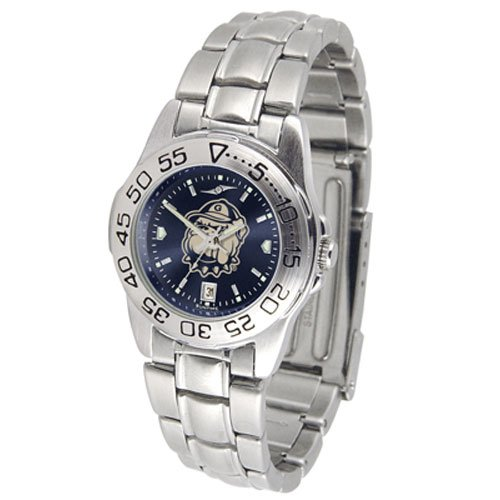 Suntime Georgetown Hoyas Ncaa Anochrome Sport Ladies Watch Metal Band