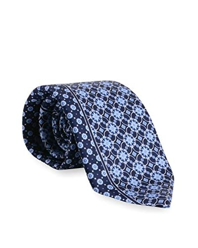 Brioni Men's Medallion and Dot Tie, Blue