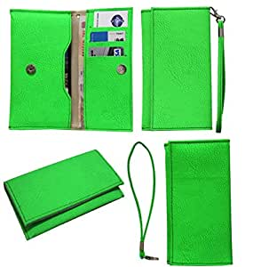 Jo Jo A5 G8 Leather Wallet Universal Pouch Cover Case For Spice Boss Flair M 5249 Light Green