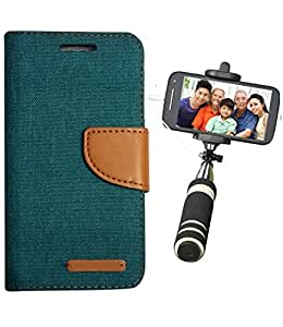 Aart Fancy Wallet Dairy Jeans Flip Case Cover for MotorolaMotoE2 (Green) + Mini Fashionable Selfie Stick Compatible for all Mobiles Phones By Aart Store