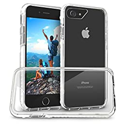 Orzly FUSION Bumper Case Cover Shell for Apple iPhone 7 (2016 Version of 4.7 inch Model) - Protective Hard Back Cover with Impact Absorbing Edges - 100% Clear with WHITE Rim