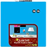 Quartet Dry-Erase Board, 14 x 14 Inches, Frameless, Neon Blue Surface (85471-BU)