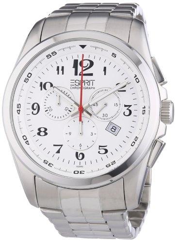 Esprit ES102201005 - Reloj analógico de cuarzo para hombre con correa de acero inoxidable, color plateado