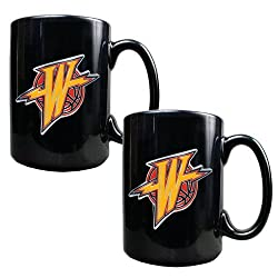 Golden State Warriors NBA 2pc Black Ceramic Mug Set - Primary Logo