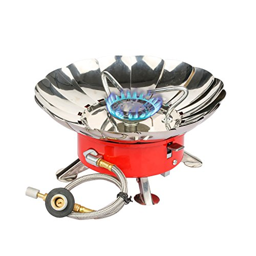Etekcity E-gear Portable Collapsible Outdoor Windproof Camping Stove Butane Propane Burner (Red)