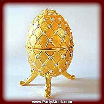 Large Faberge style Egg Box Swarovski Crystals with Big Jewelry Ring...