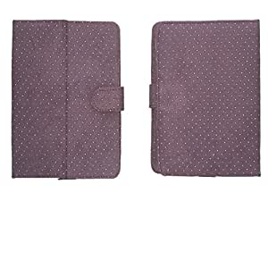 Jo Jo G2 Silver Dotted Flip Flap Case Cover Pouch Carry For Celkon Ct-910+ Purple