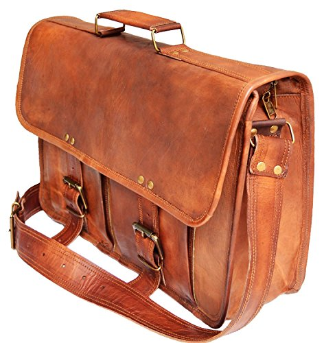 Men's Genuine Leather Messenger College Macbook Air Pro Laptop Ipad ...
