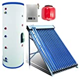 Duda Solar 300 Liter Water Heater Active Split System Dual Coil Tank Evacuated Vacuum Tubes Hot SRCC Certified (Color: Dual Coil, Tamaño: 300 Liter Dual Coil)