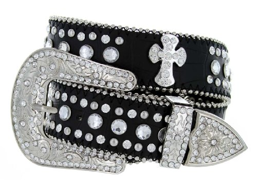 Womens Genuine Leather Rhinestone Cross Conchos Studded Belt - Black (38 Black)
