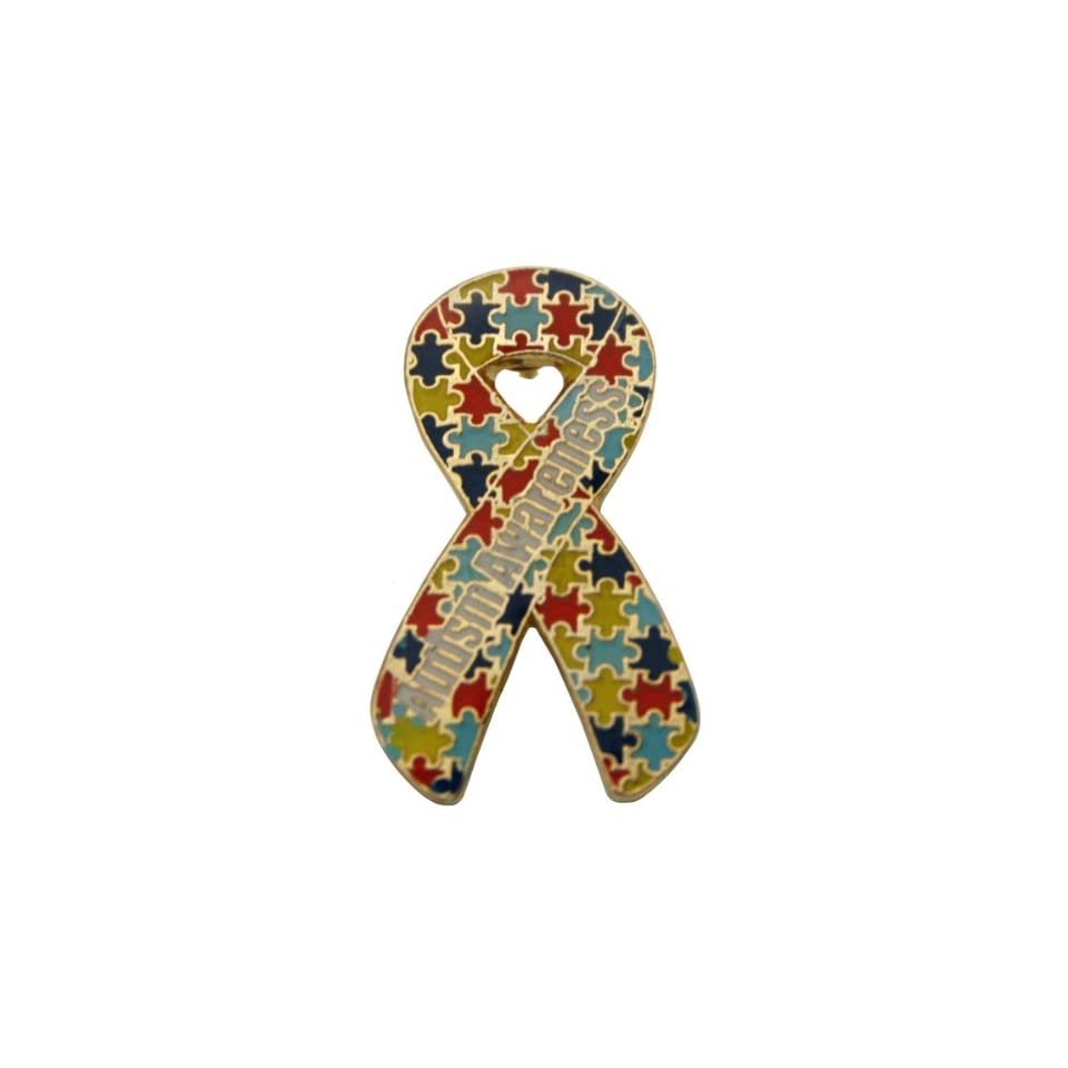 Autism Awareness Puzzle Ribbon Pin   Die Struck Fundraiser 10 Pack