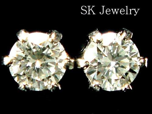 鑑別付 プラチナ Pt900 天然ダイヤモンド 0.1ct 憧れの 6本爪 ピアス