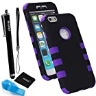For Apple iPhone 6 Case (4.7-inch) TPU 3PC Dual Layer Hybrid Hard Case Rubber Bumper Case Cover (3ps-Purple&Black)