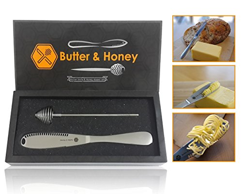 Butter Knife and Honey Dipper, 403 Stainless Steel Food Grade, Butter Spreader and Butter Curler As Magic, Roll The Butter Up So You Do Not Tear Your Bread, Honey Dipper Included, Set Of 2pcs.