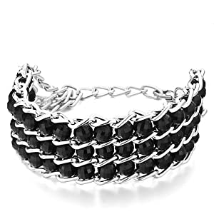 Pugster Chain 3-Row Black Plastic Cement Beads Bracelet