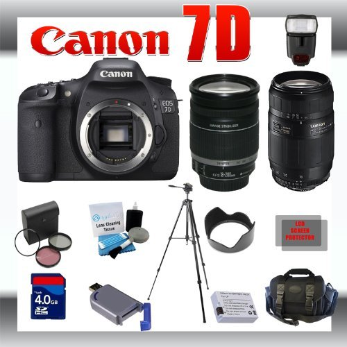 Canon EOS 7D Digital SLR Camera Body with Canon 18-200mm and Tamron AF 75-300mm f/4.0-5.6 LD for Canon Digital SLR Cameras + 8GB Memory Card + Digital Flash + SD Memory Card Reader + Li-Ion Replacement Battery Pack + Deluxe Cleaning Kit + Carrying Case +