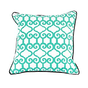 Room Service Retro Mod Collection Moroccan Pattern Pillow, 20-inch x 20-inch, White/Blue/Chocolate