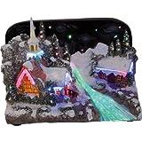 insatech Beleuchtetes verschneites Weihnachtsdorf mit Kapelle