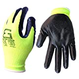Better Grip Seamless Knit Nylon Nitrile Form Coated Work Gloves, High visibility Lime, 6 Pair Pack (Large)